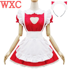 Sexy Open Chest JK Maid Uniform Cosplay Kawaii Headband Fancy Party Dresses Lolita Apron Maid Outfits Uniform Costume WXC