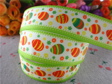 "New arrival 1"" (25mm) easter printed grosgrain ribbon cartoon eggs ribbons hair accessories 50 yards 15010304"