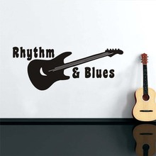 Removable Wall Stickers Rhythm Blues Guitar Music Home Decor Sticker For Bedroom Modern Waterproof Wallpaper For Kids Rooms