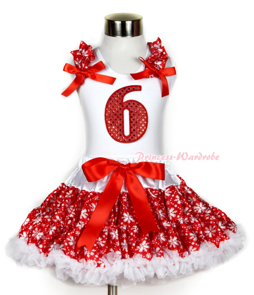 Xmas White Tank Top 6th Sparkle Red Birthday Number Print Red Snowflakes Ruffles &amp; Red Bow &amp; Red Snowflakes Pettiskirt MAMG730<br>