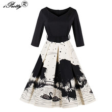 Winter Women Vintage dress Swan Ink Print Retro Robe V Neck 50s Dresses With Three Quarter Sleeves Belt Rockabilly Party Vestido