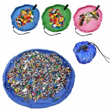 Newest 150cm Kids Baby Play Mat Large Storage Bags Toys Organizer Blanket Rug Boxes(China)
