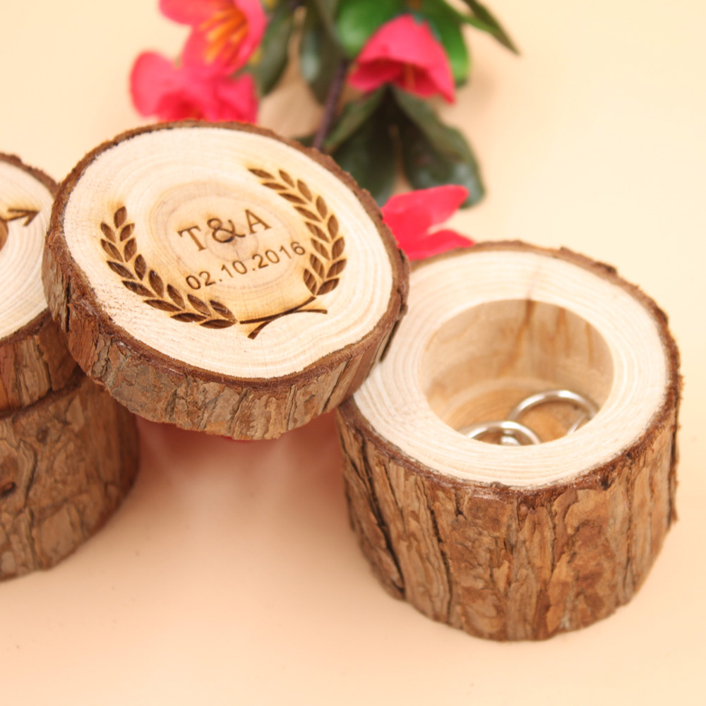 Custom Ring Box, Personalized Wedding / Valentines Engagement Wooden Ring Bearer storage Box, Rustic Wedding Ring Box engraved