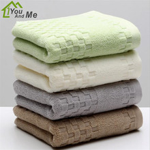 32x74cm Solid Color Grids 100% Cotton Face Towel For Adult High Absorbent Bath Towel Hand Towel(China)