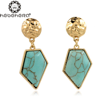 A0246 Natural Stone Decoration Drop Earrings for Women Two Colour Pendientes Accesssories Boucle Vintage Charm Earring(China)