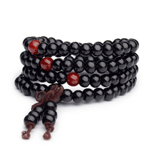Vintage 6mm 108 Beads Natural Sandalwood Buddhist Buddha Wood Bracelets Meditation Prayer Bead Mala Bracelet Women Men Jewelry(China)