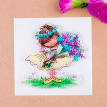 Scrapbook DIY photo cards account rubber stamp clear stamp finished transparent chapter Flower Girl 10*10(China)