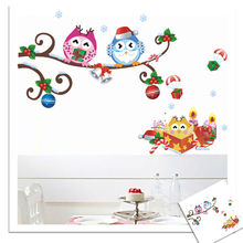 Colourful Christmas Tree Owls Xmas Windows Glass cabinet Wall stickers New Year home decoration decor Wallpaper Kids Gift