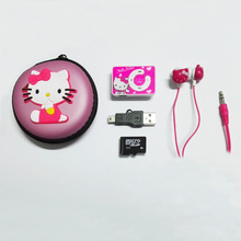 New Portable Clip MP3 Player Cartoon Hello Kitty MP3 Music Player Provide Stereo Earphone & Silicone Box & Mini USB Cable