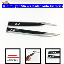 Car styling 2Pcs Black R-Line R Line Car Body Fender Side Knife Emblem Stickers for VW Golf Polo Atlas CC Auto stickers(China)