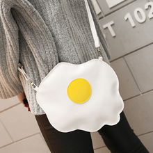 White PU Leather Fried Egg Cute Bag Small Body Bag Personality Handbag 2017 Women New Fashion High Street Bags Mobile Phone Bags(China)