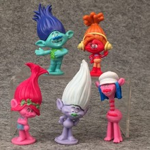 5pcs/lot 7cm Dreamwork Movie Trolls PVC Figures Doll Toys Cake Ornaments Automotive Decoration Kids Toys Gifts(China)