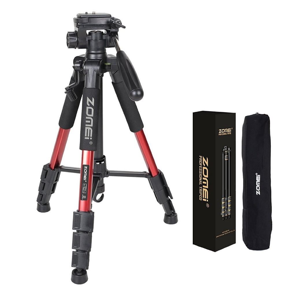 100% Original ZOMEI Q111 Professional Portable Aluminum Camera Tripod&amp;Pan Head for SLR DSLR Digital Camera Red Black Colors<br>