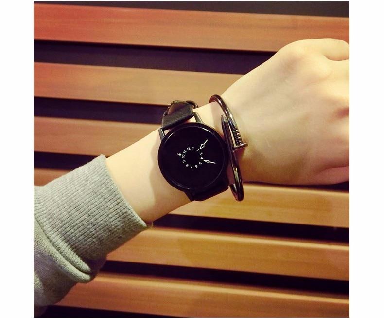 Hot fashion creative watches women men quartz-watch BGG brand unique dial design minimalist lovers' watch leather wristwatches 19