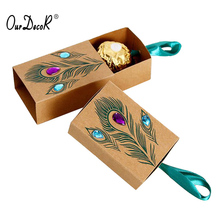 100 Pcs Peacock Feather Candy Boxes Drawer Design Wedding Favors Faux Rhinestone Kraft Paper Gift Boxes 7.5*5*3cm scatole regalo(China)