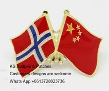 Norway China Friendship Flag Badge Metal Lapel Pin Badges Pins free shipping 100pcs a lot(China)