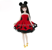 Genuine Original Mickey Mouse Printed Sculpt Style Jointed Kurhn Doll with Red Dress Lace Gown Bag for Barbie Doll Free Shipping