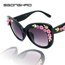 2015  New Fashion designer vintage Flower sun glasses Women Men Brand Designer Coating sunglass
