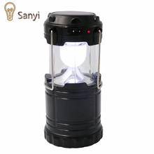 Portable Solar Charger Camping Lantern Lamp Collapsible LED Outdoor Lighting Folding Camp Tent Lamp USB Rechargeable lantern(China)