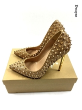 Brand Glitter Spikes Women Summer Shoes Studded Rivets Silver/gold Heels Shoes Women large size 34-42 stiletto shoes with box