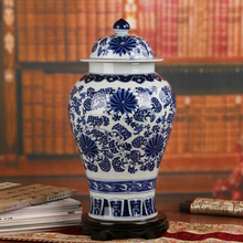 Chinese reproduction ceramic ginger jar vase Antique Porcelain temple jars home decoration blue and white porcelain temple jar(China)