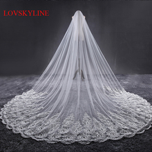3.2M Meter Ivory Cathedral Wedding Veils Long Lace Edge Bridal Veil with Comb Wedding Accessories Bride Mantilla Wedding Veil