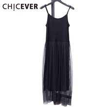 [CHICEVER] 2017 Sexy Off Shoulder Summer Women Dress Female Loose Spaghetti Strap Mesh Ladies Party Dresses New Clothing(China)
