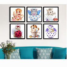 6 Styles Factory Sales Diamond Embroidery Cup Cats Cartoon Animals Diamond Painting Cross Stitch Wall Stickers Moasic Painting