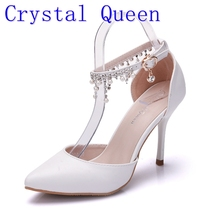 Crystal Queen Woman Fringed Shoes White High Heel Platform Ankle Satin sandals Women's Wedding Bridal Prom Dress Shoes