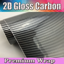2D Black Glossy Carbon Fiber Premium Car Vinyl Wrapping Film Glossy Foil Sticker Shiny Gloss Carbon Fiber Size:1.52x30m/roll(China)