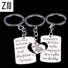 3PC Engraved Daddy Little Girl Mom Best Friend Love You Heart Keyrings Key Chains Family Dad Mommy Daughter Jewelry Collier Gift