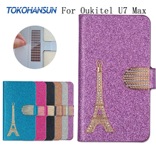 For Oukitel U7 Max Case Luxury Bling Flip Wallet Effiel Tower Diamond 2017 New Hot PU Leather cover TOKOHANSUN Brand