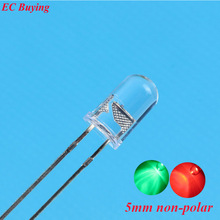 100 pcs 5mm LED Bi-Color Clear Red/Green Non-Polar Round Light Emitting Diode Dual Foggy Two Plug-in  DIY Kit