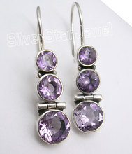 Silver Natural Amethysts Stone Dangle Earrings 3.6CM(China)