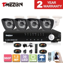 Tmezon AHD 4CH 1.3MP 960P CCTV Security System 4pcs Day Night Waterproof IR Camera Alarm Systems Security Home Diy 1TB 2TB Kit