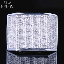 HELON sterling silver 925 Mens Jewelry Pave Round Cut Genuine Natural Diamonds Ring Wedding Fashion Pinky Band Ring 1.2ct(China)