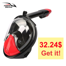 KEEE DIVING Anti Fog Full Face Snorkeling Mask Diving Snorkel 2 In 1 For Gopro 180 Degree Dry Easy Free Breath Dive Gear Tube(China)