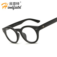 The new fashion trend in flat lens flat lens V card round glasses Men and women general frames