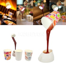 Home Creative DIY Coffee Cup LED Light USB Battery Poured Desk Table Lamp For Bedroom with best price(China)