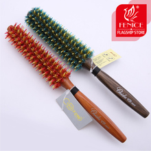 Roll round comb bristle pig mane hair brush Brown bristles wood handle pop salon For curly hair(China)