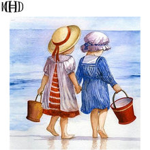 MHD, 5D diy diamond painting, 2 people, kids beach, round and full diamond, rhombus cross stitch, stickers drilling embroidery(China)