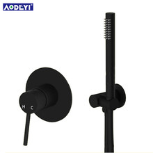 Brass Black Hand Held Shower Set Bathroom Shower Diverter Mixer Valve and Shower Holder Hose(China)