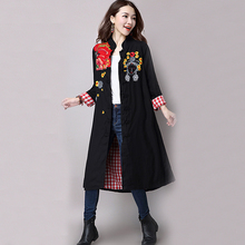 Trench Coat for Women Cotton Linen Vintage Long Trench Coat Patchwork Women Trench Coat Embroidery Winter Trench Coat Size M-XL(China)