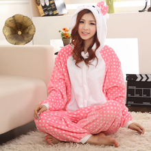 Free Shipping Designer Women Adult Animal Onesies Hello Kitty Flannel Winter Jumpsuit Cartoon Pajamas Sleepwear Nightwear