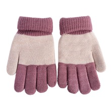 Winter Kids Gloves Boys Girls Mittens Thick Warm Cashmere Student Five Fingers Gloves(China)
