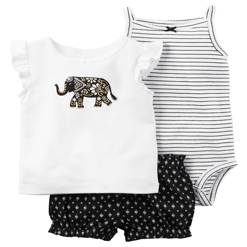 2018 baby girl clothes newborn baby clothing set white cute elephant short sleeves T-shirt+pants+romper 3pcs suit 17 style