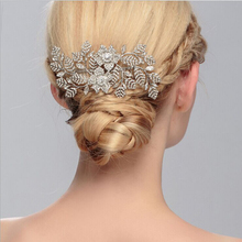 Vintage Inspired Leaves Bridal Hair Comb Silver Clear Rhinestone Hair Clip