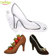Delidge 1 pc 3D High-heeled Shoes Chocolate Cake Mold Plastic Fondant Ladies High Heels Cake Making Tools Baking Utensils