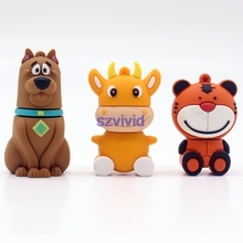 Newest Cartoon Animals Dog Tiger Cow usb flash drive pendrive usb Memory 64GB stick pen drive 4GB 8GB 16GB 32GB flash disk