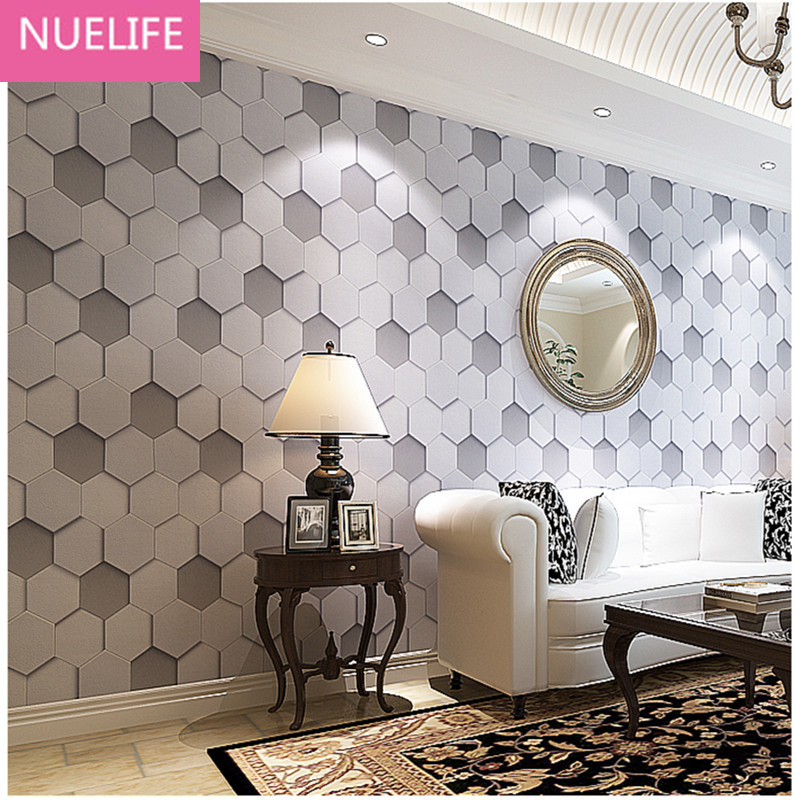 0.53x10m Personalized 3D retro hexagonal honeycomb pattern wallpaper barber salon shop  women clothes decoration wallpaper<br>